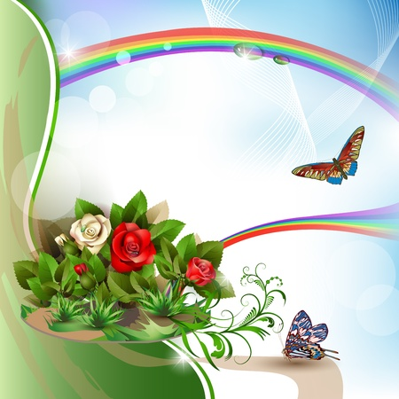Beautiful background with roses, butterflies and rainbow Vector