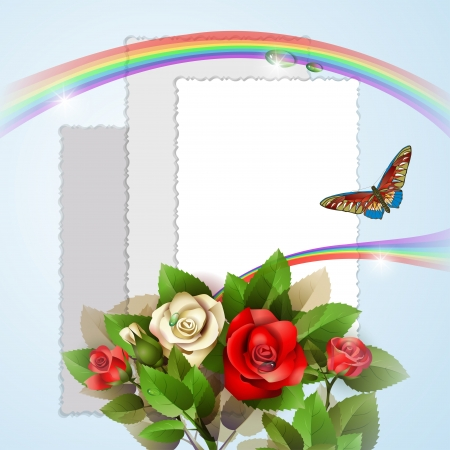 rose frame: Background with beautiful roses, photos, rainbow and butterfly