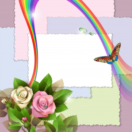 flower border pink: Background with beautiful roses, photos, rainbow and butterfly