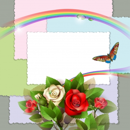 Background with beautiful roses, photos, rainbow and butterfly Vector