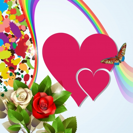 Colorful background with red hearts, roses and rainbow Vector