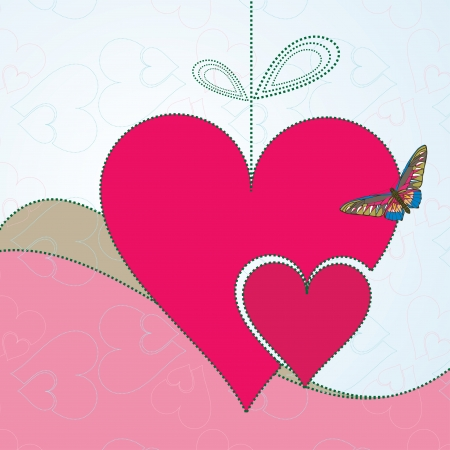 Abstract background with red hearts and butterfly Vector