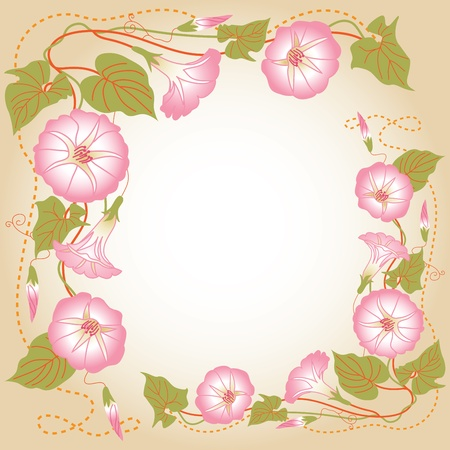 Beautiful background with pink Morning glory Vector