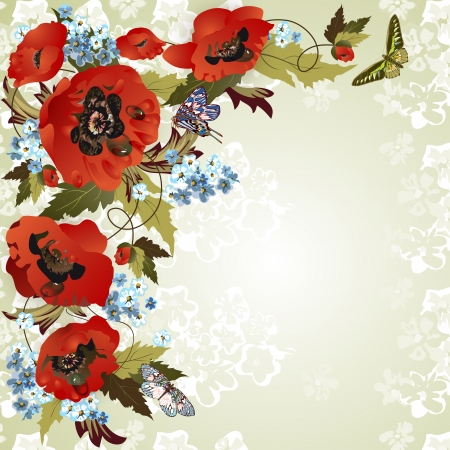 Beautiful background with poppies, cornflowers and butterflies Vector