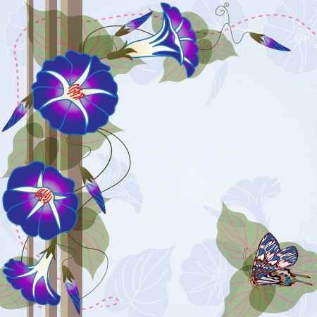morning glory: Elegant background with beautiful Morning glory and butterfly Illustration