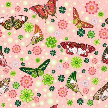 Seamless pattern with butterflies, flowers and clover Stock Vector - 14923655