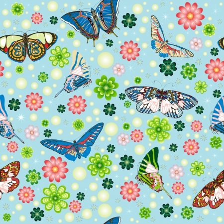 Seamless pattern with butterflies, flowers and clover Vector