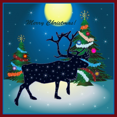 north star: Christmas card with reindeer  Illustration