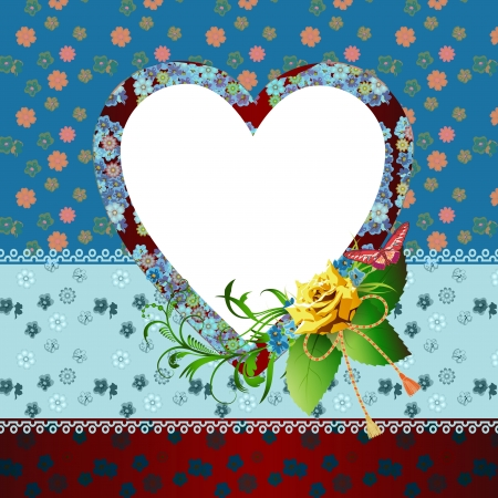 Card with heart and floral background Vector