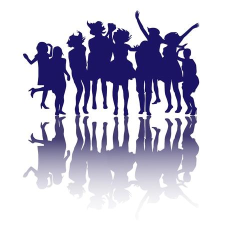 freedom woman: Happy girls silhouettes Illustration