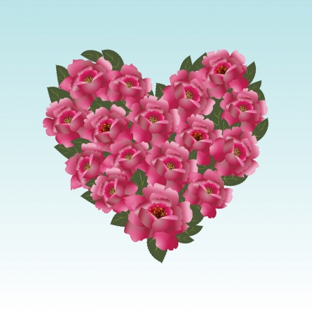 roses and hearts: Pink roses in a heart shape representing love and valentine s day images