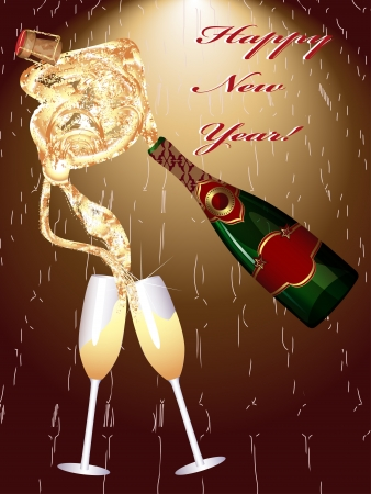 Two Champagne Glasses  New Year Celebration  Vector