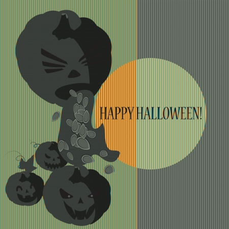 Halloween with pumpkins  Can be used as card, background and poster Stock Vector - 15285762