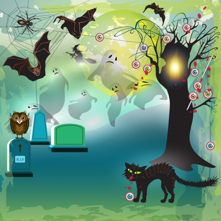 Scary halloween with tree, eyes, bats and gravestones  Vector