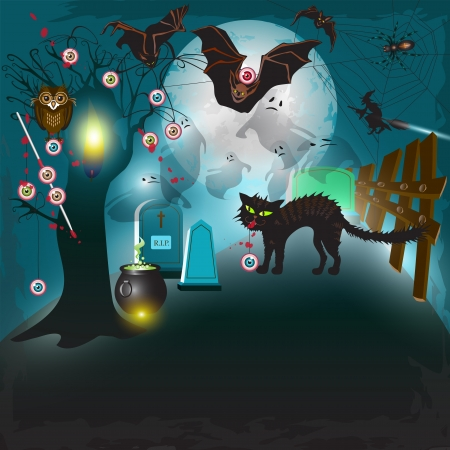 spooky eyes: Scary halloween with tree, eyes, cat and bats  Illustration