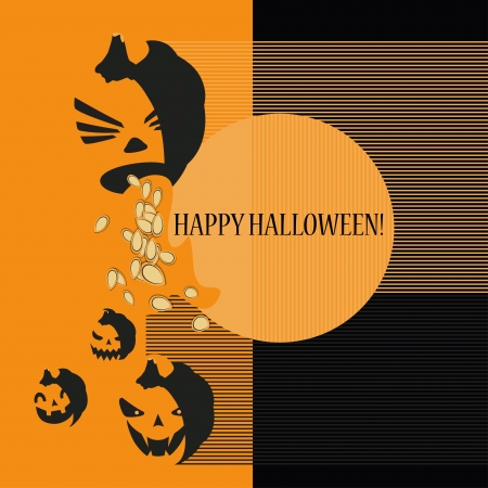 Halloween with pumpkins  Can be used as card, background and poster   Vector
