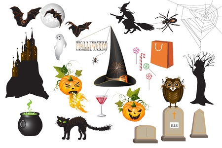 tombstone: Set of fun Halloween icons, isolated on white