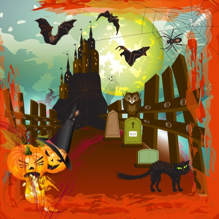 Scary halloween castle background with moon, fire and blood Vector