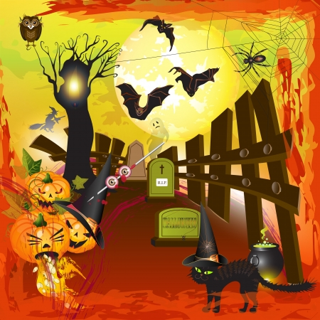 spooky eyes: Scary halloween pumpkins background with moon, fire and blood  Illustration