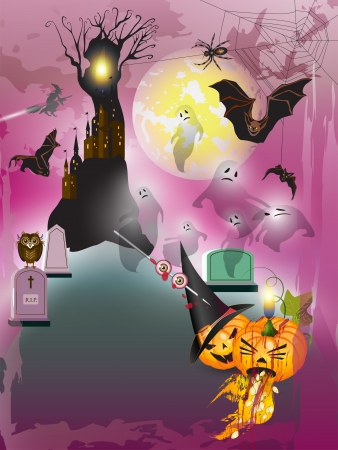 Scary halloween with castle, tree, bats and pumpkins  Vector