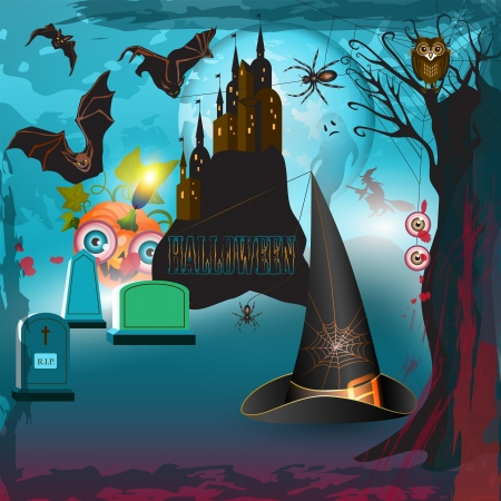 Scary halloween with castle, pumpkin, hat and gravestones  Stock Vector - 15285771