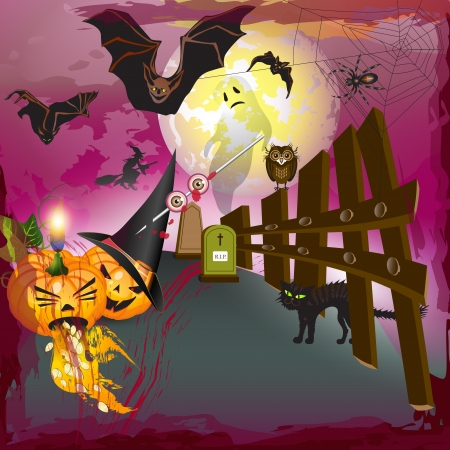 Scary halloween with pumpkins, ghost, bats and blood Vector