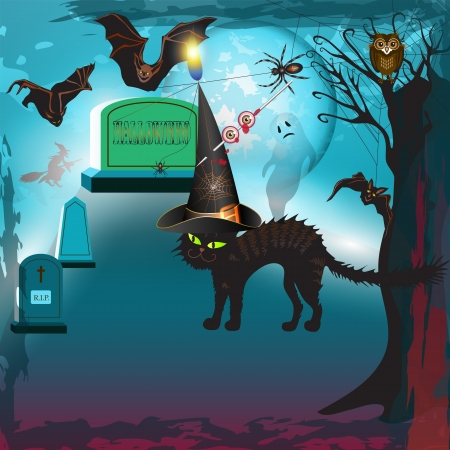 Scary halloween with cat, bats, ghost and gravestones  Vector