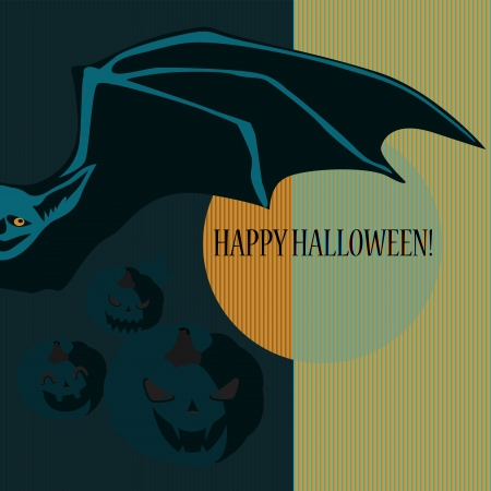 Halloween with bat and pumpkins  Can be used as card, background and poster Stock Vector - 15285759