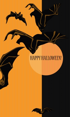 Halloween with bats  Can be used as card, background and poster  Vector