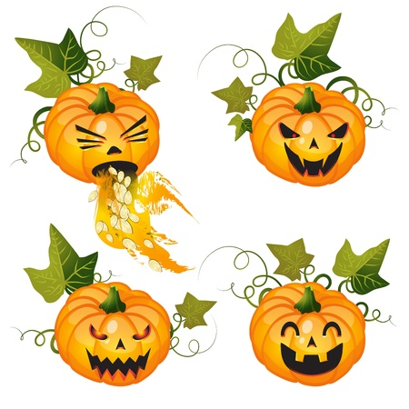 pumpkin seeds: Halloween pumpkin set