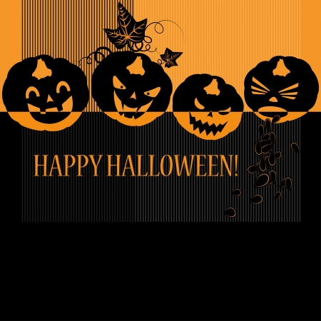 Halloween with pumpkins  Can be used as card, background and poster Stock Vector - 15364058