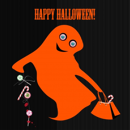 cute ghost: Halloween with cute ghost and candy  Can be used as card, banner and poster