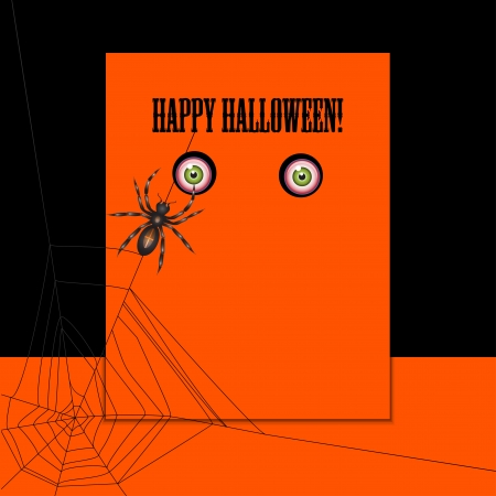 Halloween with spider and eyes  Can be used as card, banner, poster, flyer or cover Stock Vector - 15439485