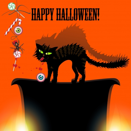 Halloween with cat, spider, candy and eyes  Can be used as card, banner, poster, flyer or cover Stock Vector - 15439489
