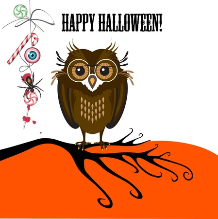 Halloween with cute owl, spider and candy  Can be used as card, banner and poster  Vector