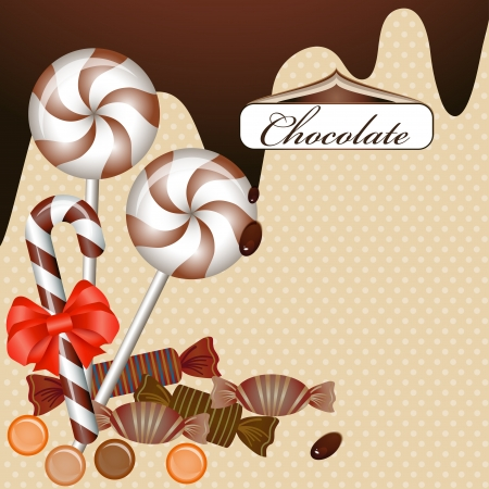 Background with chocolate candy and ribbon Vector