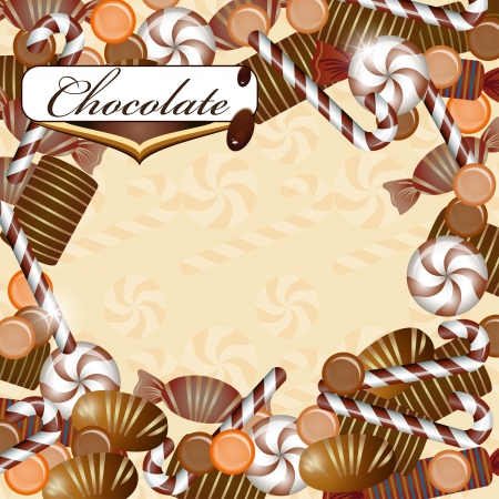Background with chocolate candy Vector