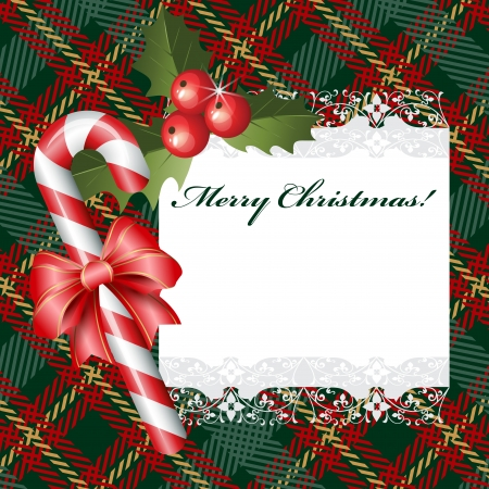 Christmas background with candies and ribbon