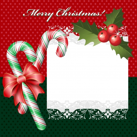 cane sugar: Christmas background with candies and ribbon
