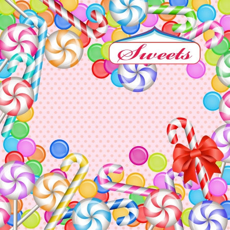 confections: Mixed colorful candies and ribbon Illustration