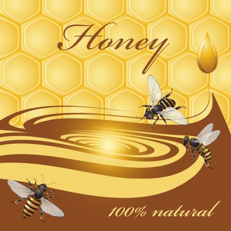 Honey background and bees