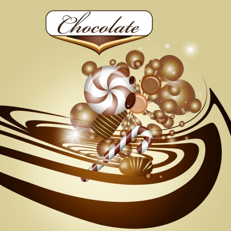 chocolate swirl: Chocolate background and candy