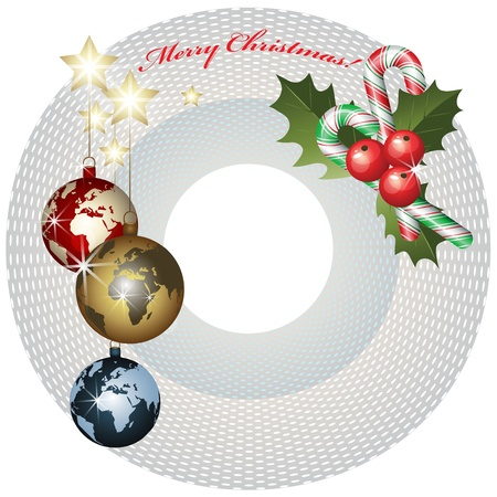 World Christmas baubles background Vector