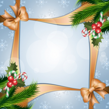 Christmas background with holly berry, candy and ribbon