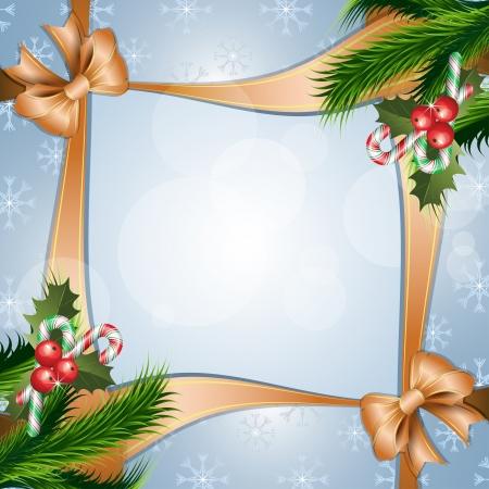christmas berries: Sfondo Natale con agrifoglio bacca, caramelle e nastro Vettoriali