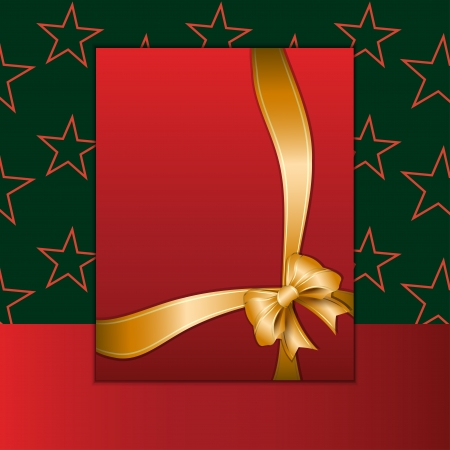 Christmas card or invitation with golden ribbon Stock Vector - 16244477