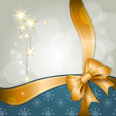 Merry Christmas background with ribbon and stars Vector