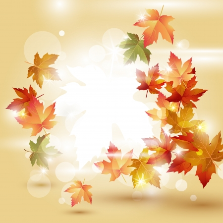 fall background: Autumn leaves falling on bright background