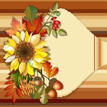 Autumn background with sunflower, acorn, rosehip, colorful leaves and place for text