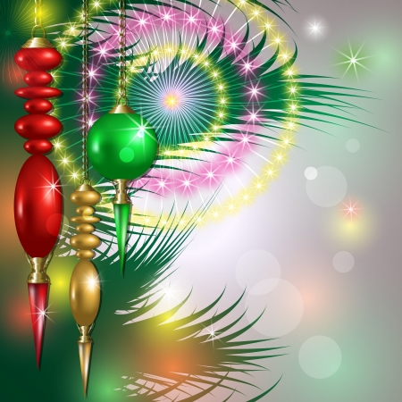 decorated christmas tree: Merry Christmas background with balls and fireworks